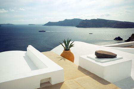 zomer scène in Santorini, Griekenland Stockfoto