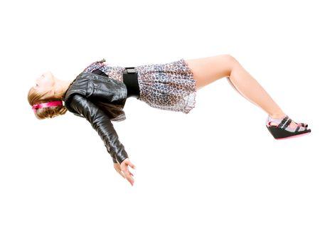 levitacion: joven levitando. sobre fondo blanco aisladas Foto de archivo