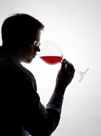 sampling: young expert sampling red wine Stock Photo