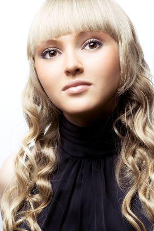 젊은 아름다운 금발 카메라, 스튜디오 촬영 포즈