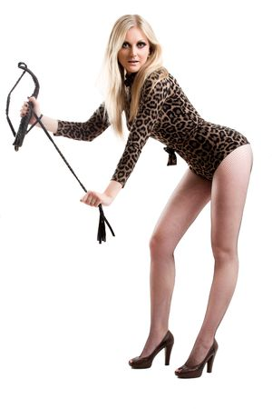 young blonde with whip posing over white photo