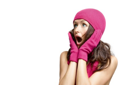 young woman in winter accessories looking very surprised  photo