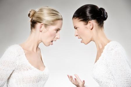 dos mujeres caucásicos jóvenes argumentando, disparo de estudio  Foto de archivo