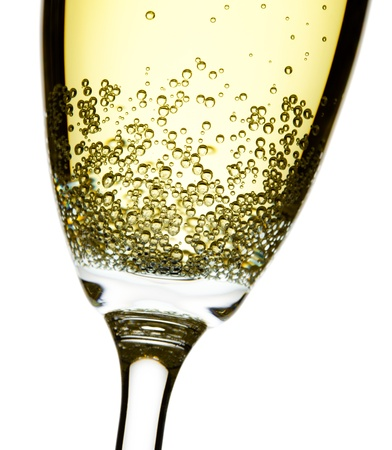 champagne flute: close up studio shot of champagne flute, isolated over white, focus on bubbles