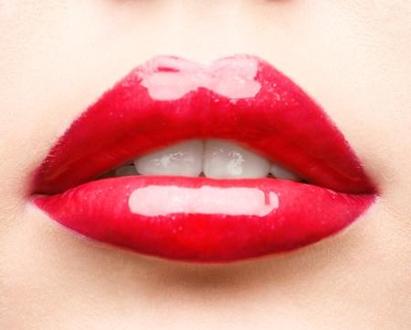 close up studio shot of red glossy lips Stock Photo - 8589530