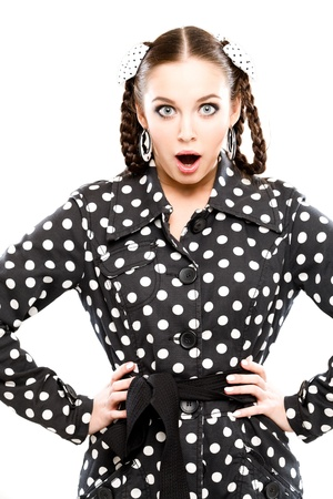 young woman in retro outfit looking very surprised photo