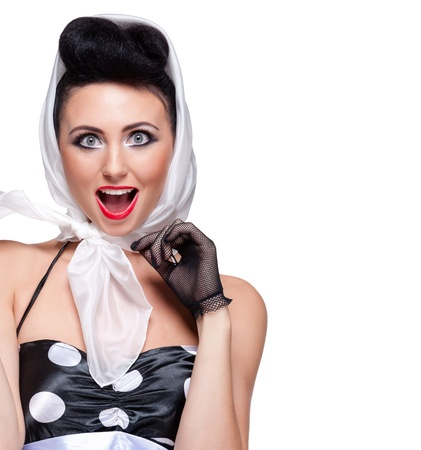 headscarf: young beautiful caucasian woman posing, isolated over white, retro styling, space for copy Stock Photo
