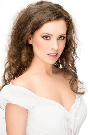gorgeous brunette posing, over white background photo
