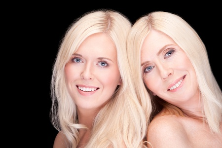 scandinavian people: mother and daughter- natural beauty, over black