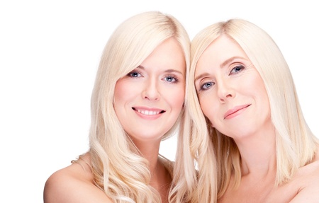 blonde mom: mother and daughter- natural beauty, over white Stock Photo