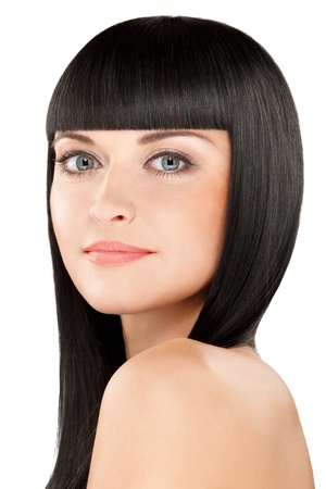 close-up beauty portrait of young caucasian woman with perfect haircut photo