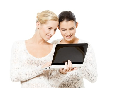 netbook: two young women with netbook