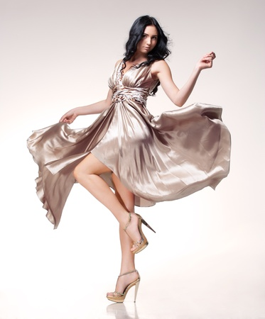 brunette in waving dress photo