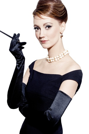 black gloves: retro portrait