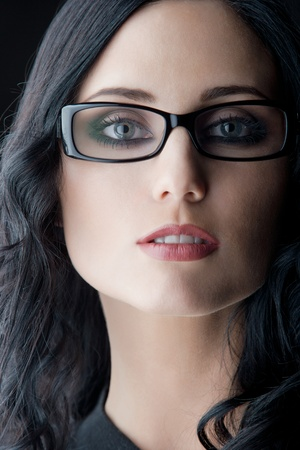 brunette wearing glasses photo