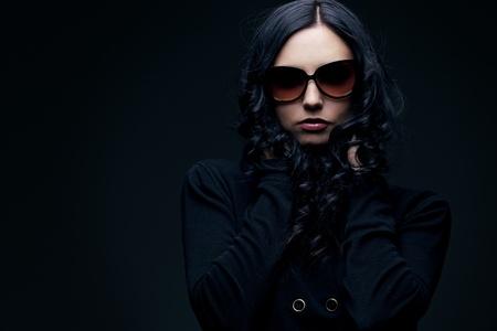 brunette wearing sunglasses