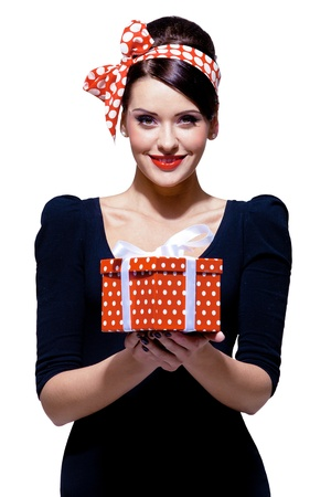 gorgeous brunette with gift box 스톡 콘텐츠