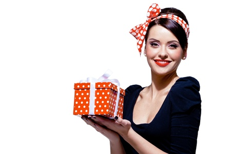 young gorgeous brunette with gift box, isolated on white