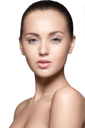portrait of beautiful young model, over white background, studio shot