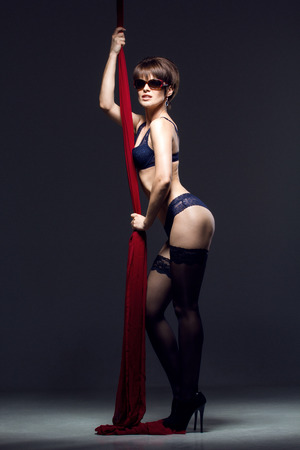 young gorgeous woman in sexy lingerie posing in studio photo