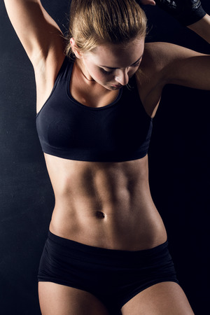 slim woman: attractive fitness woman, trained female body, lifestyle portrait, caucasian model Stock Photo