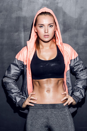 attractive fitness woman, trained female body, lifestyle portrait, caucasian model Stock Photo