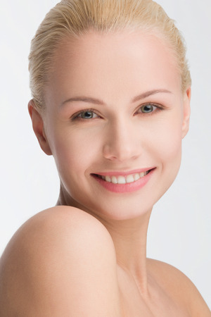 clear skin: close-up portrait on beautiful blond, clear skin concept