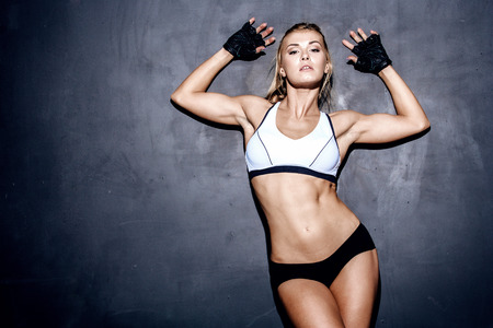attractive fitness woman, trained female body, lifestyle portrait, caucasian model Archivio Fotografico