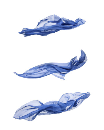 fabric: abstract pieces of fabric flying, isolated on white, design element Stock Photo