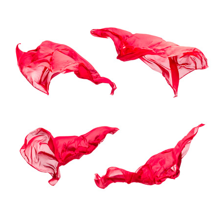 studio: abstract pieces of red fabric flying, studio shot, design element
