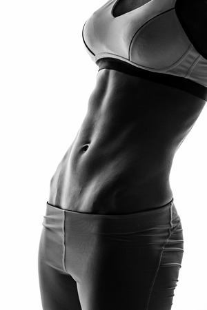 sport silhouette: silhouette of attractive fitness woman, trained female body, lifestyle portrait, caucasian model Stock Photo