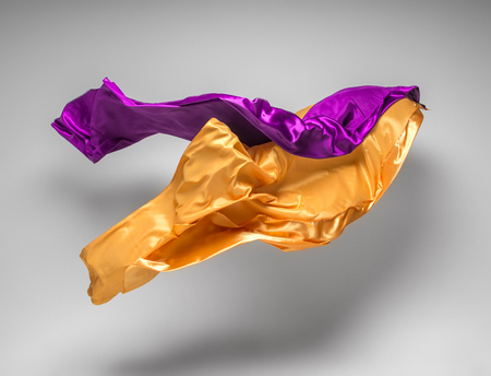 purple silk: flying fabric - high speed studio shot, art object, design element