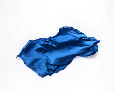 abstract piece of blue fabric flying, high-speed studio shot Stock Photo