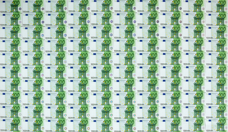 100 euro banknotes arranged into background Foto de archivo
