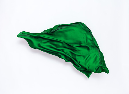 piece of green fabric in motion, design element, high-speed photo Banque d'images - 107645384