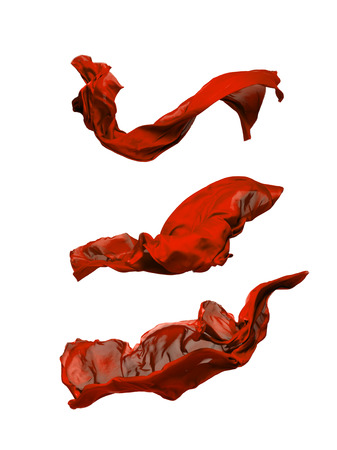abstract piece of red fabric flying, high-speed studio shot