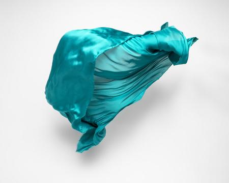 abstrakcyjny kawałek turkusowej tkaniny latający, szybkie ujęcie studyjne