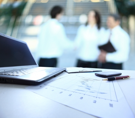 banking information: Graphs, charts, business table. The workplace of business people