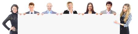 group of young smiling business people. Over white background Stock Photo - 23259454