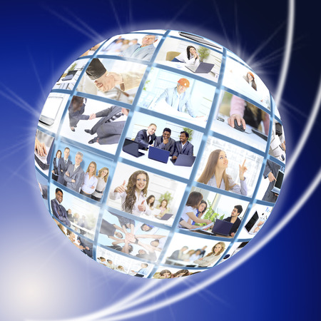 connecting: A globe is isolated on a white background with many different business people