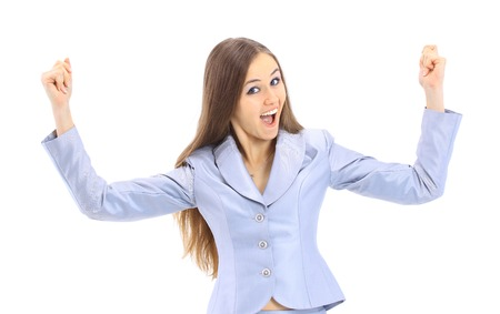 The successful beautiful business woman on a white background photo