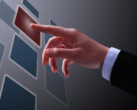 The businessman, a gesture, a finger. photo