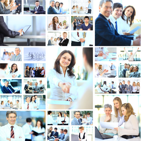 Collage with businesspeople working together and tools photo
