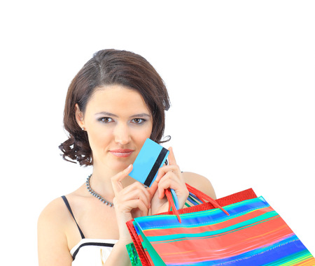 Shopping woman happy take credit card and shopping bag  photo