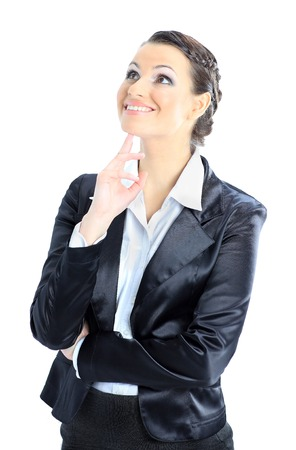 gad: Nice business woman reflected gad new ideas. Isolated on a white background. Stock Photo