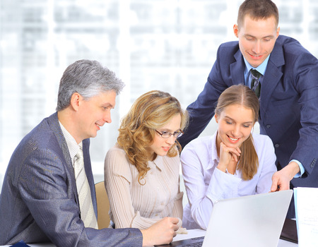 1 person: Group of businessmen to discuss the work plan. Stock Photo