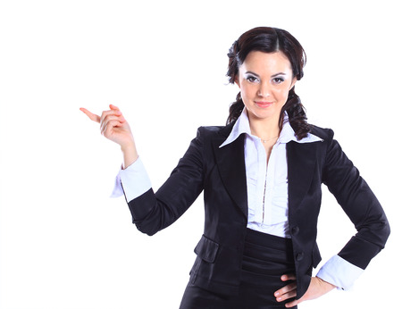 beautiful business woman showing copy space up over white background photo