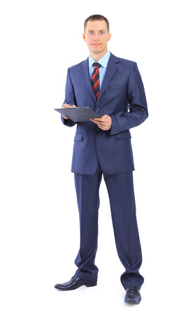 clipboard isolated: businessman writing on clipboard isolated over white background