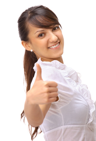 Happy smiling business woman with thumbs up gesture and folder, isolated on white background  photo