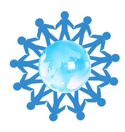 Paper people standing in a circle around glass globe photo